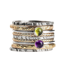 Load image into Gallery viewer, Mixed Metal Colorful Stacking Gemstone Rings Set of 9 // Purple Amethyst green peridot