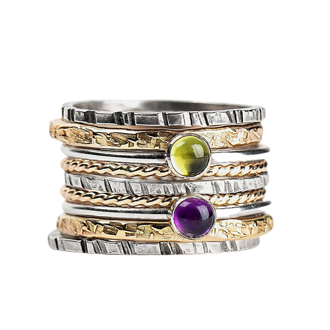 Mixed Metal Colorful Stacking Gemstone Rings Set of 9 // Purple Amethyst green peridot