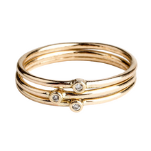 Load image into Gallery viewer, 14K Gold White Diamond Stacking Rings