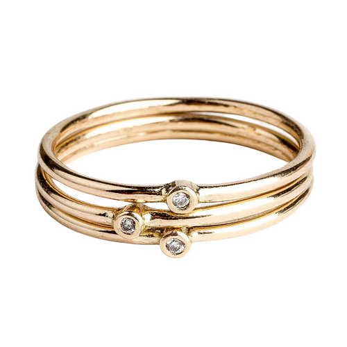14K Gold White Diamond Stacking Rings