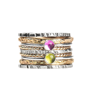 Mixed Metal Colorful Stacking Gemstone Rings Set of 9 // Pink Sapphire green Peridot