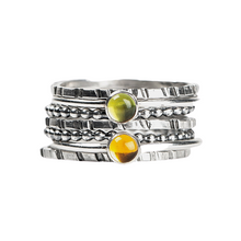 Load image into Gallery viewer, Colorful Stacking Gemstone Rings Set of 7 // Lime green Peridot yellow orange Citrine