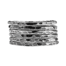 Load image into Gallery viewer, Oxidized Black Sterling Silver Hammered Stacking Rings