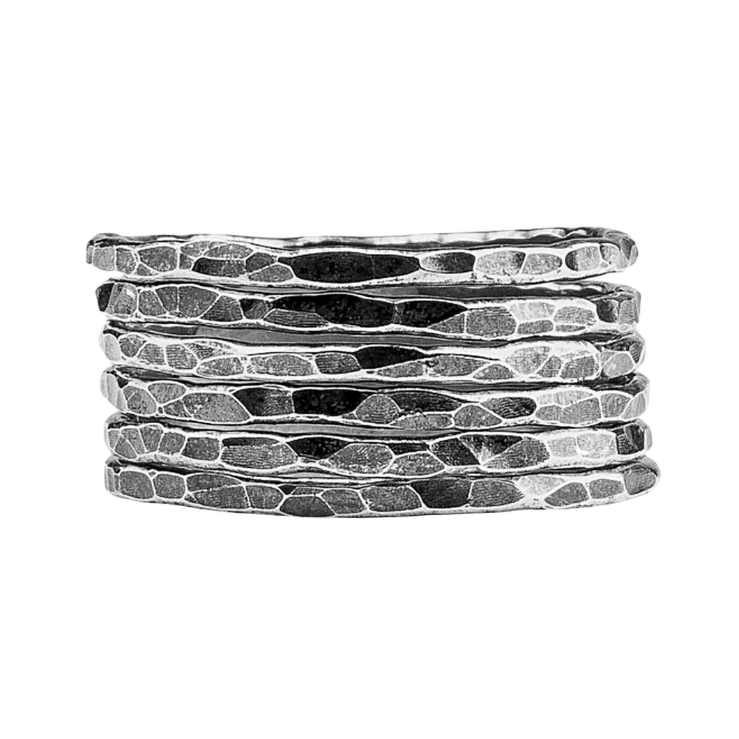 Oxidized Black Sterling Silver Hammered Stacking Rings