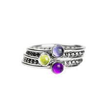 Load image into Gallery viewer, Colorful Stacking Gemstone Rings Set of 5 // Purple Iolite purple Amethyst green peridot