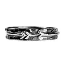 Load image into Gallery viewer, Tiny Silver Arrow Stacking Ring Set of 3