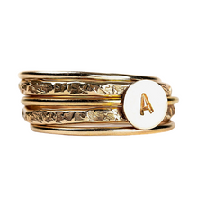 Load image into Gallery viewer, Initial Stacking Rings Set of 5 in Gold, Silver, or Rose Gold