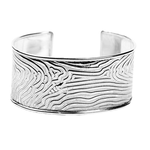 Sterling Silver Tree Bark Cuff Bracelet