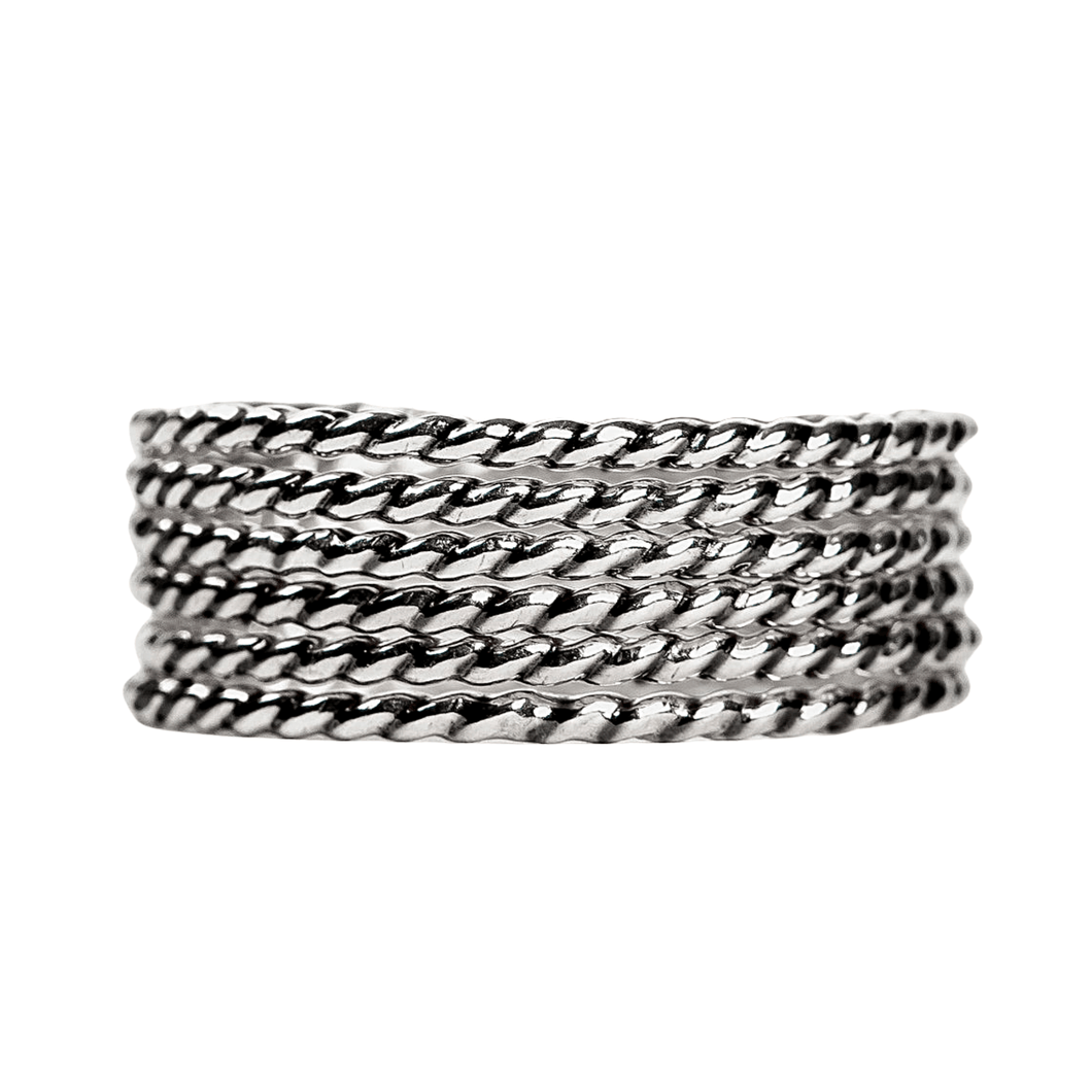 Sterling Silver Twisted Rope Stacking Rings