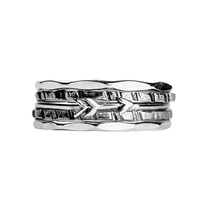 Tiny Silver Arrow Stacking Ring Set of 5