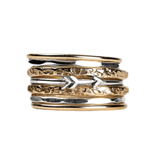 Load image into Gallery viewer, Mixed Metal Arrow Stacking Ring Set of 7