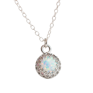 Colorful Opal Gemstone Necklace in Sterling Silver