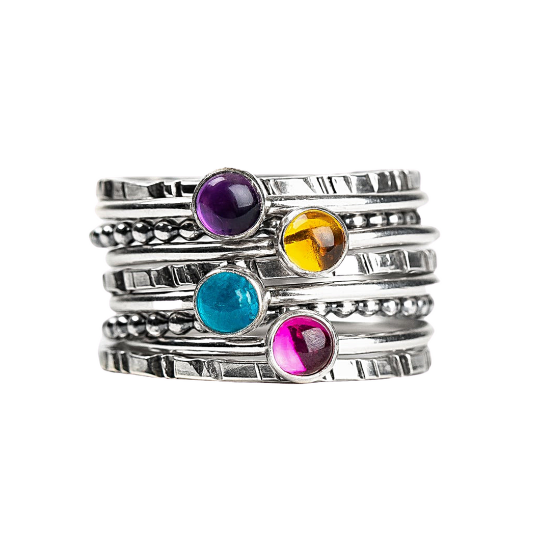 Colorful Stacking Gemstone Rings Set of 9 // Purple Amethyst pink Ruby blue Apatite yellow Citrine