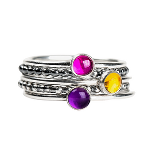 Colorful Stacking Gemstone Rings Set of 5 // Pink Ruby yellow Citrine purple Amethyst
