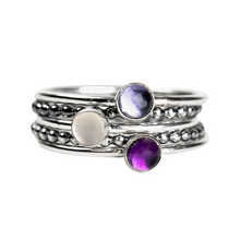 Load image into Gallery viewer, Colorful Stacking Gemstone Rings Set of 5 // Purple Iolite purple Amethyst white moonstone