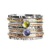 Load image into Gallery viewer, Mixed Metal Colorful Stacking Gemstone Rings Set of 9 // Purple Iolite green Peridot