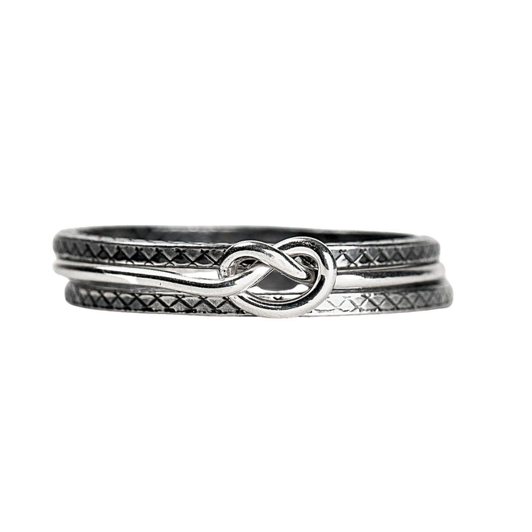 Silver Knot Stacking Ring Set of 3