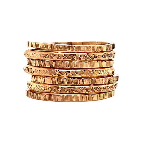 Rugged and Silk Stacking Rings Set of 7