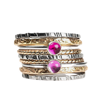 Load image into Gallery viewer, Mixed Metal Colorful Stacking Gemstone Rings Set of 9 // pink Ruby pink Sapphire