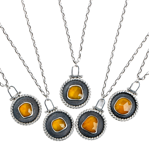 Sunny Yellow Chalcedony Medallion Necklaces