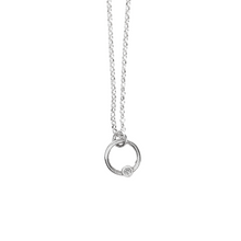 Load image into Gallery viewer, Tiny Sterling Silver Diamond Necklace // Pick your diamond