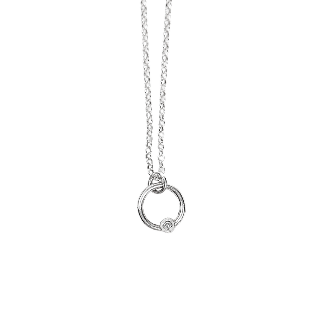 Tiny Sterling Silver Diamond Necklace // Pick your diamond