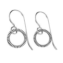 Load image into Gallery viewer, Sterling Silver Textured Open Circle Earrings