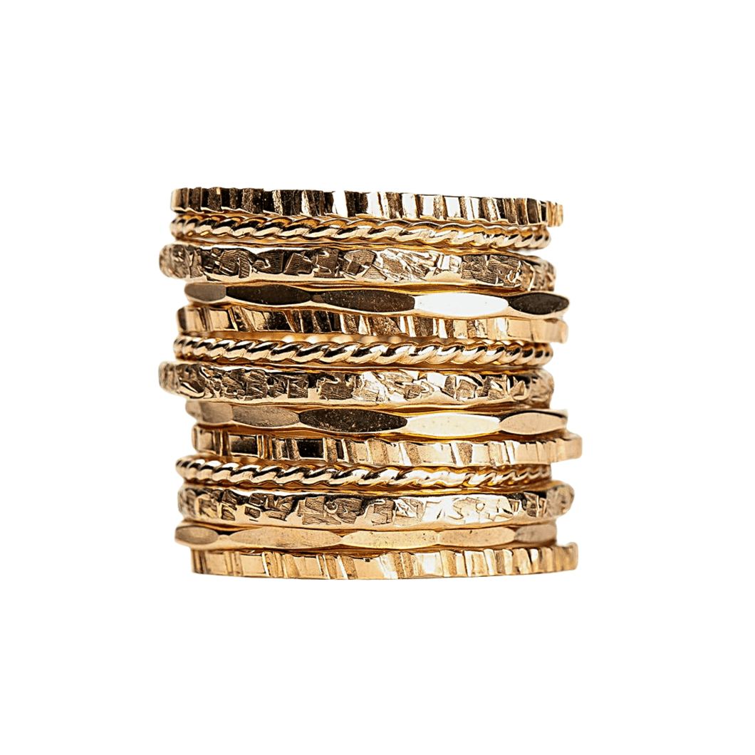 Rugged, Twist, Mirror, Silk Stacking Rings Set of 13