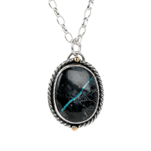 Load image into Gallery viewer, Black Viking Ribbon Turquoise Necklace in Sterling Silver and 14K Gold // The River Valley Collection