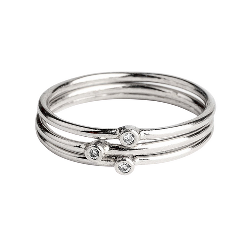 White Diamond Stacking Rings in Sterling Silver