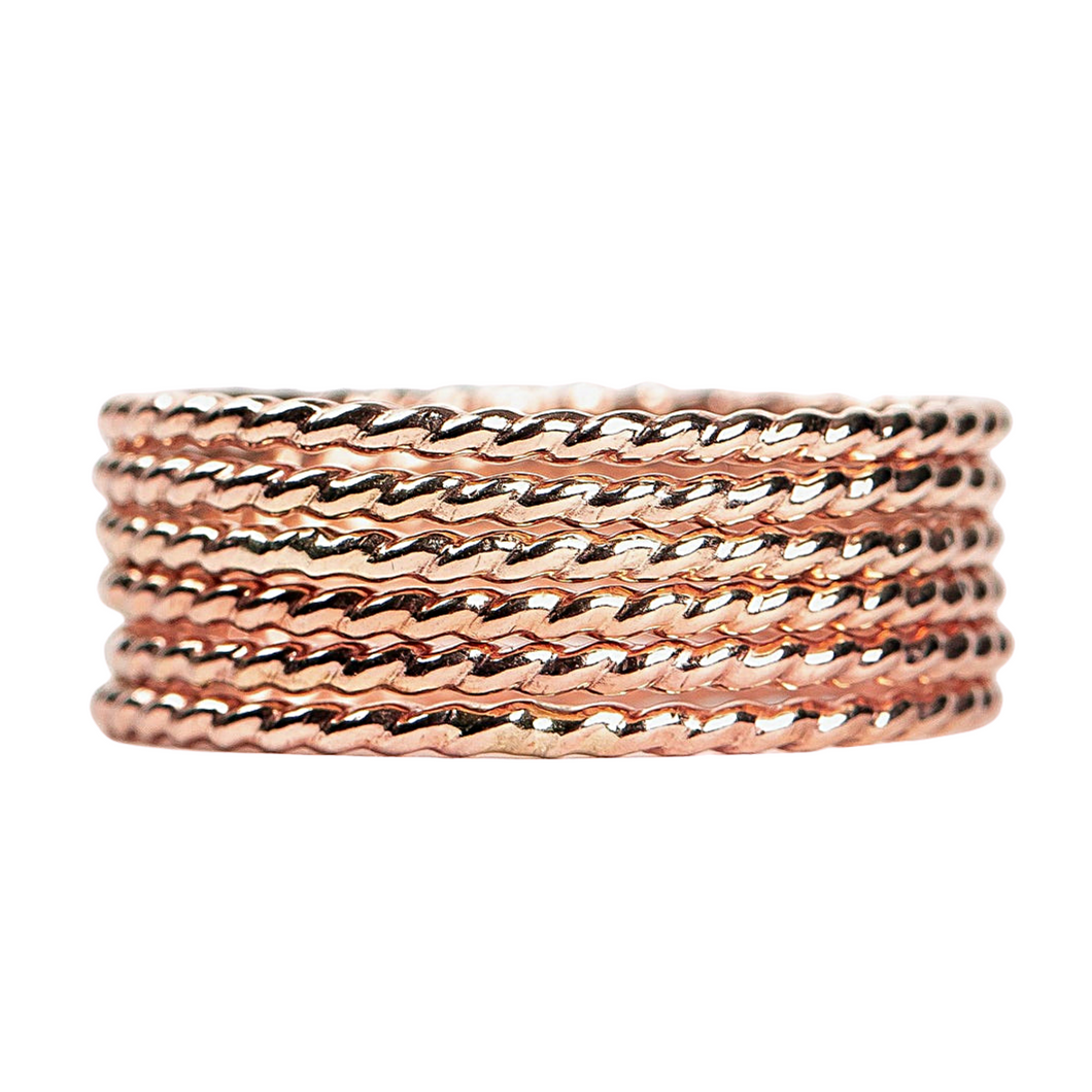 Rose Gold Silver Rope Stacking Rings