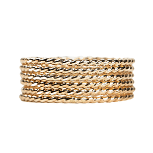 Yellow Gold Twisted Rope Stacking Rings