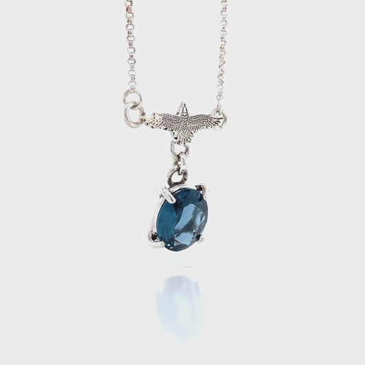 Raven Necklace with Faceted Teal Blue Topaz Gemstone in Sterling Silver // The River Valley Collection