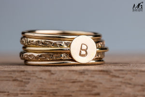 Initial Stacking Rings Set of 5 in Gold, Silver, or Rose Gold