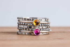 Colorful Stacking Gemstone Rings Set of 7 // Light pastel pink yellow orange Citrine