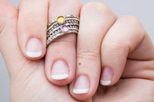 Load image into Gallery viewer, Colorful Stacking Gemstone Rings Set of 7 // Light pastel pink yellow orange Citrine