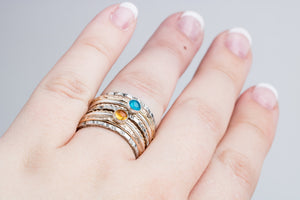 Mixed Metal Colorful Stacking Gemstone Rings Set of 9 // Teal blue Apatite yellow Citrine