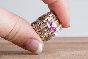 Mixed Metal Colorful Stacking Gemstone Rings Set of 9 // pink Ruby pink Sapphire