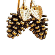 Load image into Gallery viewer, Tiny Gold Pinecone Earrings