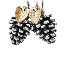 Load image into Gallery viewer, Tiny Silver Pinecone Earrings