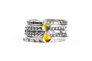 Colorful Stacking Gemstone Rings Set of 7 // Lime green Peridot yellow orange Citrine