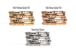 Rugged and Mirror Stacking Rings Set of 7