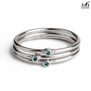 Blue Diamond Stacking Rings
