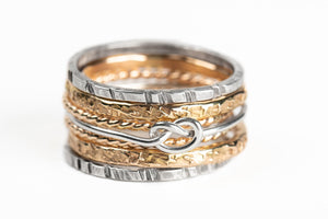 Mixed Metal Love Knot Stacking Ring Set of 7
