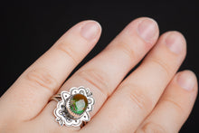 Load image into Gallery viewer, SIZE 7.5 Green and Brown Royston Turquoise Gemstone Ring