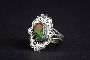 SIZE 7.5 Green and Brown Royston Turquoise Gemstone Ring