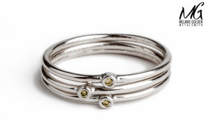 Yellow Diamond Stacking Rings in Sterling Silver