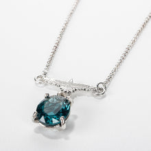 Load image into Gallery viewer, Raven Necklace with Faceted Teal Blue Topaz Gemstone in Sterling Silver // The River Valley Collection
