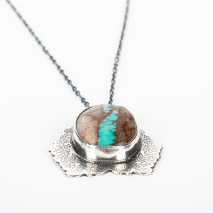 Blue Royston Ribbon Turquoise Floral Necklace // The River Valley Collection