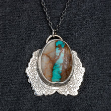 Load image into Gallery viewer, Blue Royston Ribbon Turquoise Floral Necklace // The River Valley Collection